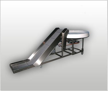 Packaging Incline Conveyor with Pack Off Turntable